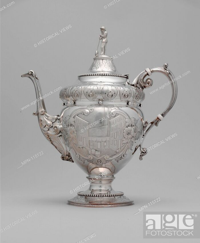 Stock Photo: Teapot. Maker: Wood and Hughes (1845-99); Date: 1862-63; Geography: Made in New York, New York, United States; Culture: American; Medium: Silver; Dimensions: 11.