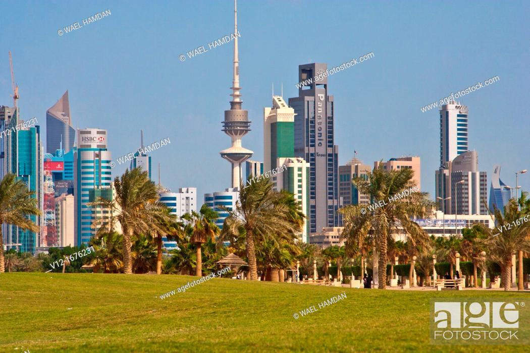 Kuwaiti waterfront , Kuwait city Arabian gulf, Asia, Stock