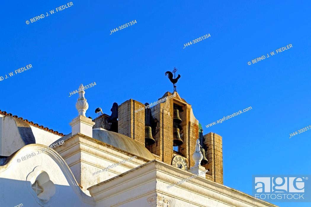 Stock Photo: Sé Catedral de Faro, Igreja de Santa Maria, steeple, Faro Portugal,.