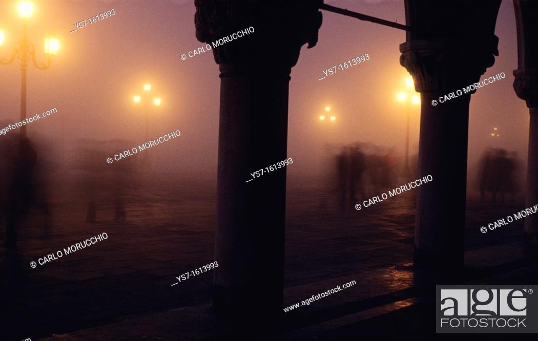 Stock Photo: St. Mark's square in a foggy night in november, Venice, Italy, Europe.