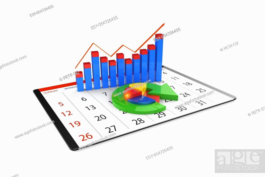 Stock Photo: Analysis of financial data in charts, accounting, business finance, taxes, banking, statistics, vision for the future, 3D Rendering.