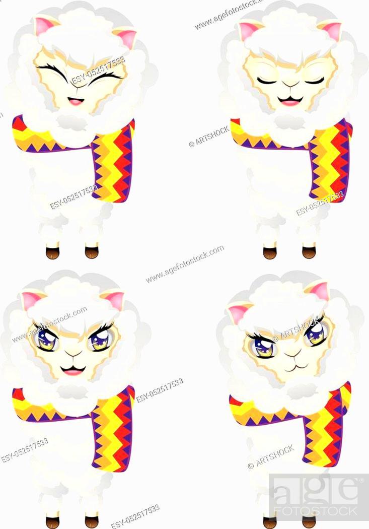 Stock Vector: Lama or alpaca cute cartoon animal illustration.