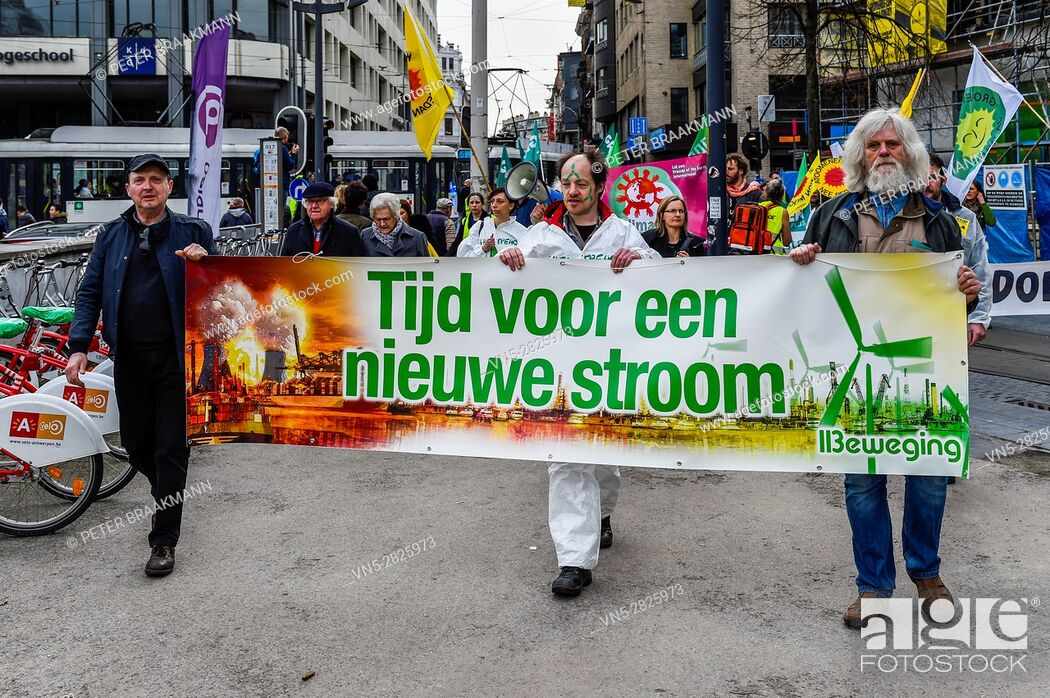 Stock Photo: Antwerp 11-03-2017 - Six years after the Fukushima nuclear disaster will Belgians and Dutch along the streets to demand the closure of dangerous nuclear plants.
