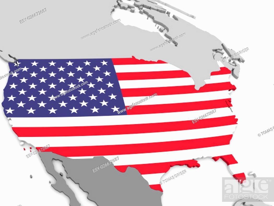 Imagen: Map of USA with embedded national flag. 3D illustration.