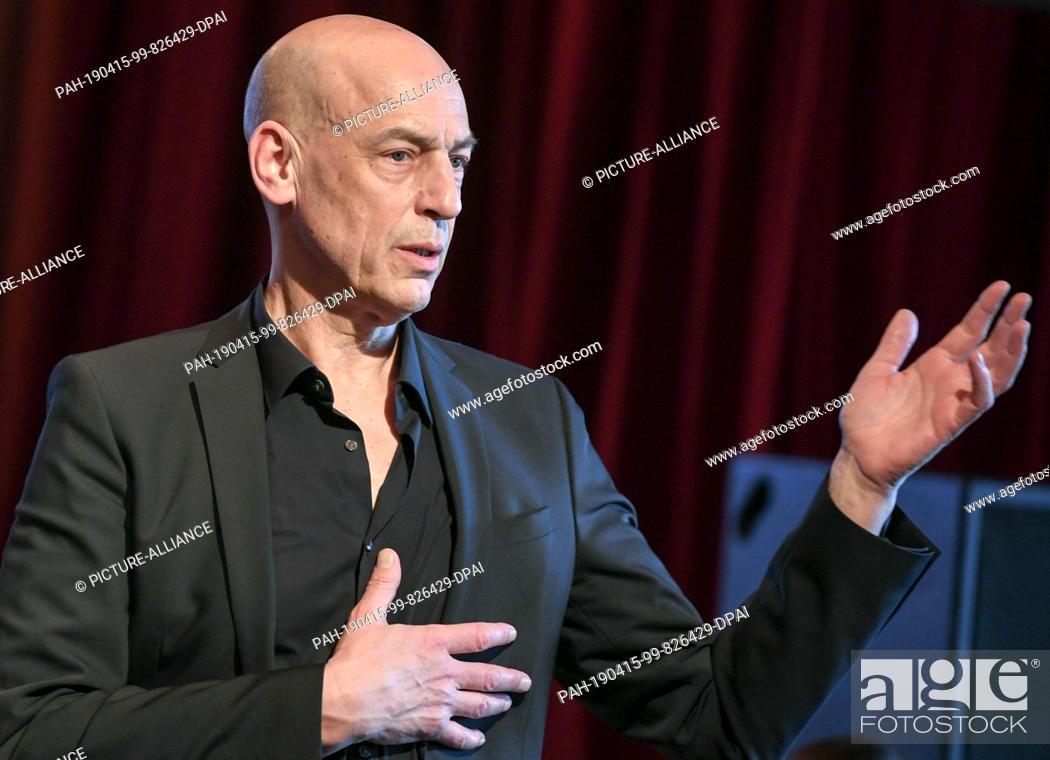 Stock Photo: 12 April 2019, Berlin: Klaus Dörr, director of the Volksbühne, takes part in a press conference. Photo: Jens Kalaene/dpa-Zentralbild/dpa.