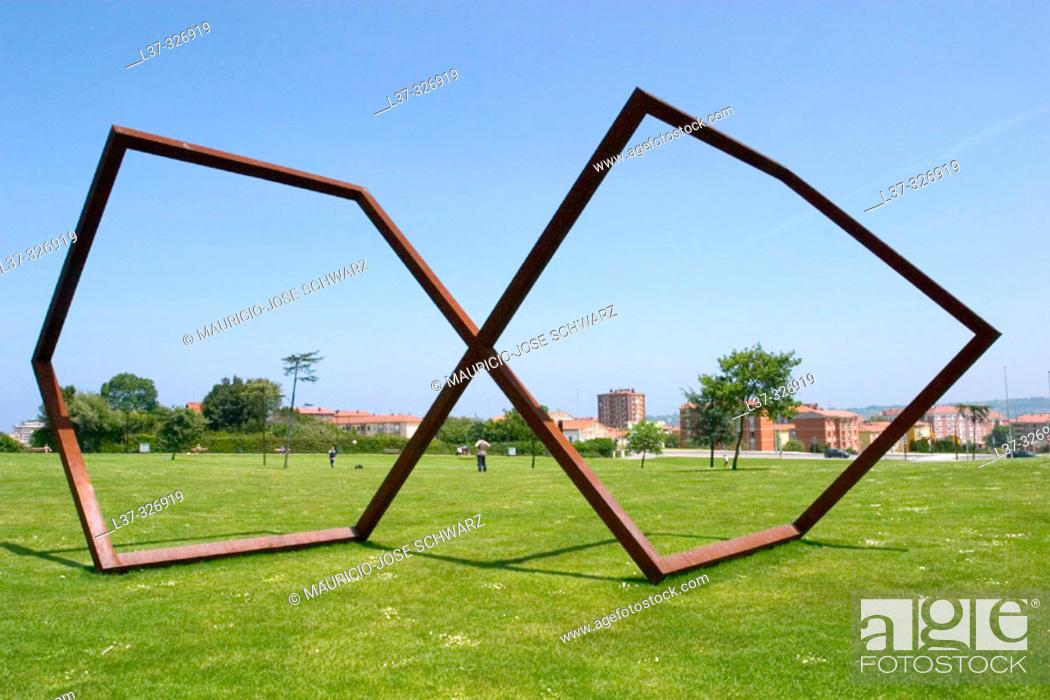 Stock Photo: Sculpture at Parque de los Pericones. Gijón. Asturias, Spain.
