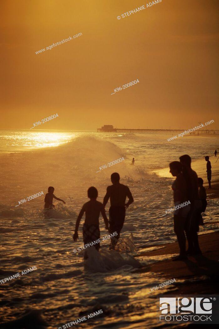 Stock Photo: Sunset at Newport Beach, California.