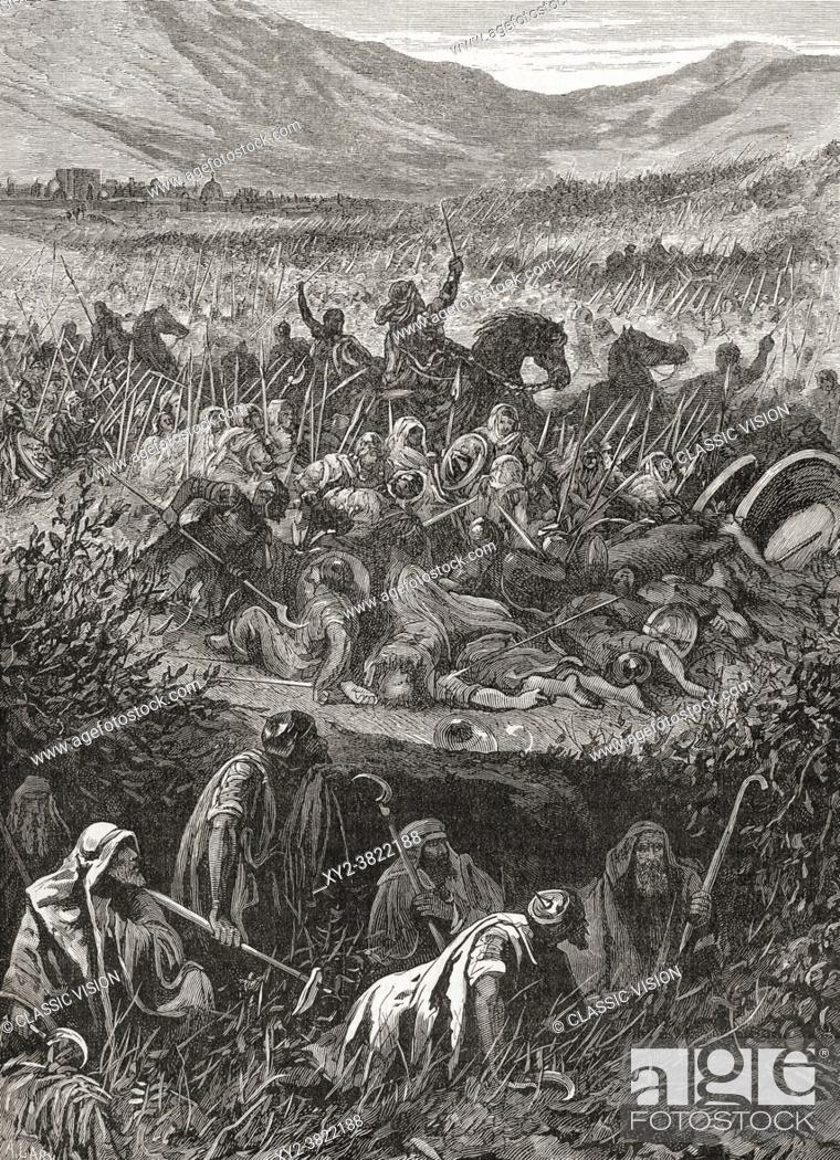Stock Photo: The Battle of Michmash, also spelled Michmas, fought between Israelites under Jonathan, son of King Saul and a force of Philistines at Michmash, c.