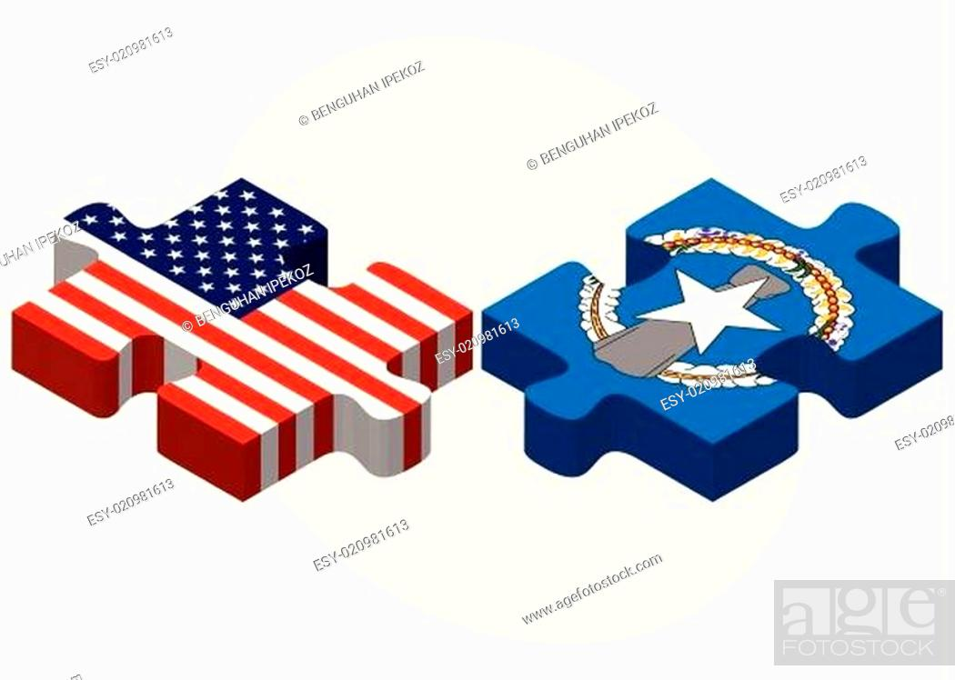 Stock Vector: USA and Northern Mariana Islands Flags in puzzle.