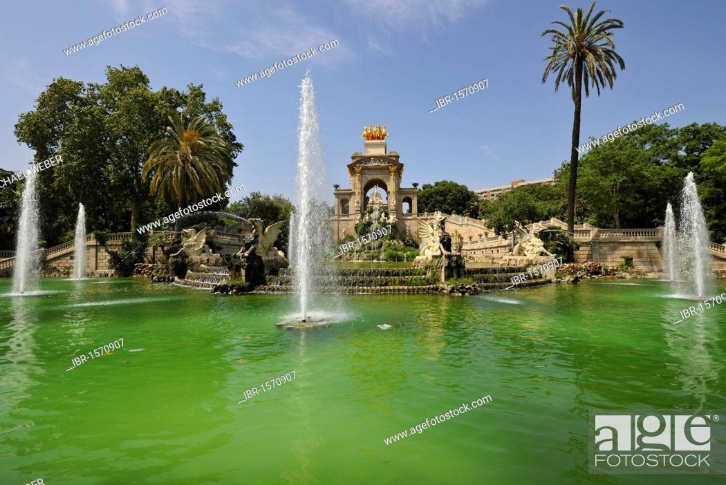 Stock Photo: Cascada fountain designed by Josep Fontseré and his assistant, Antoni Gaudí, Parc or Parque de la Ciutadella park, Barcelona, Catalonia, Spain, Europe.