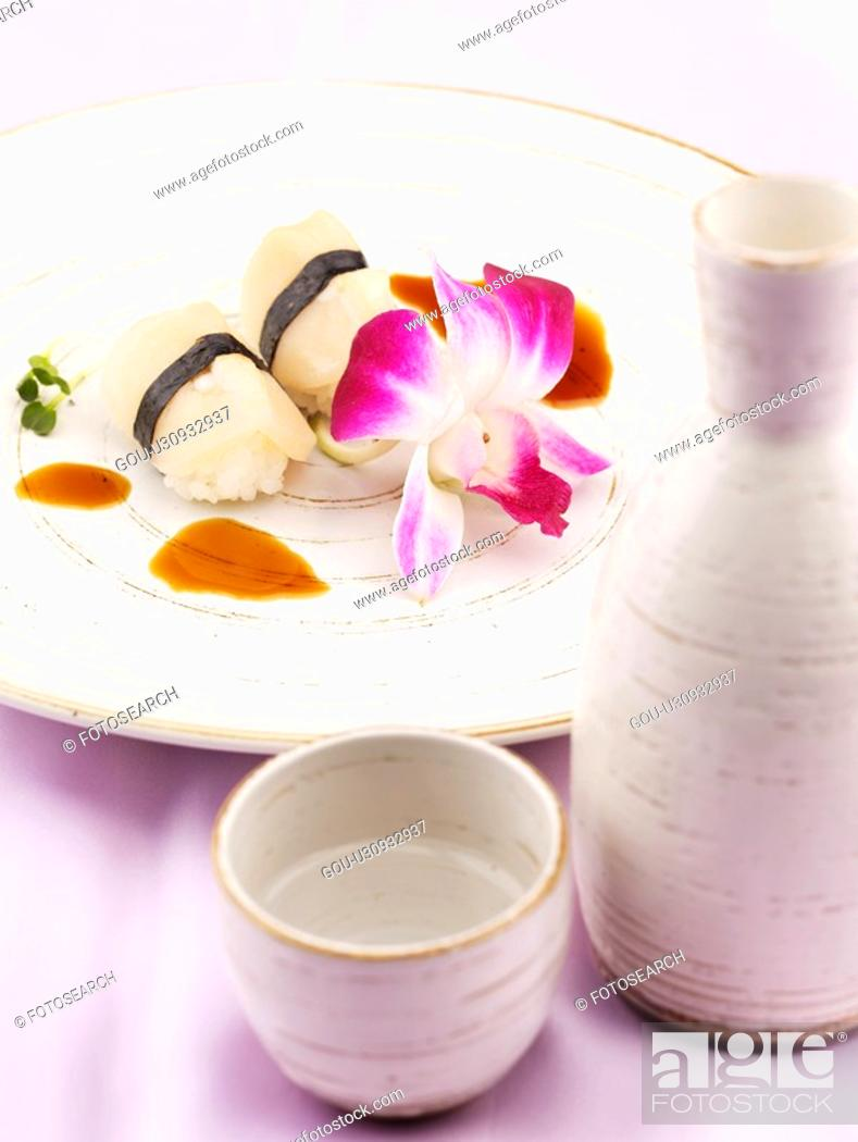 Stock Photo: sake cup, plate, sake bottle, decoration, food styling, drink, sushi plate.