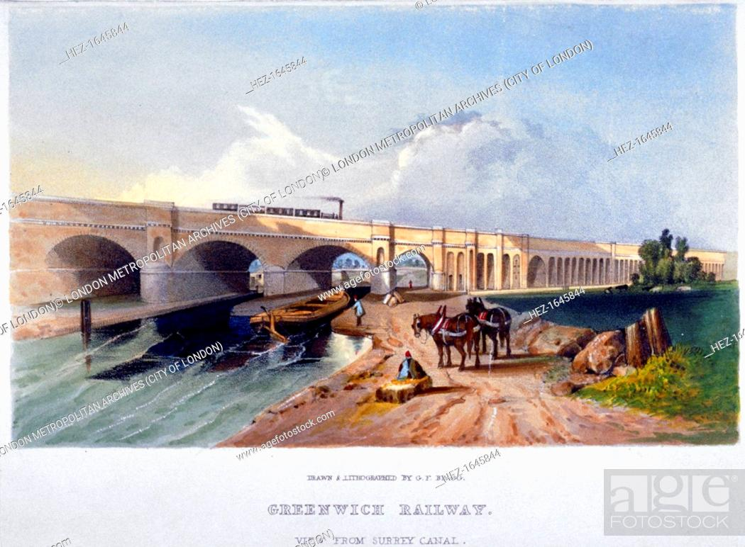 Imagen: Greenwich Railway, Deptford, London, 1836. View from the Surrey Canal showing the towpath, barges and horses and a steam train on the viaduct.