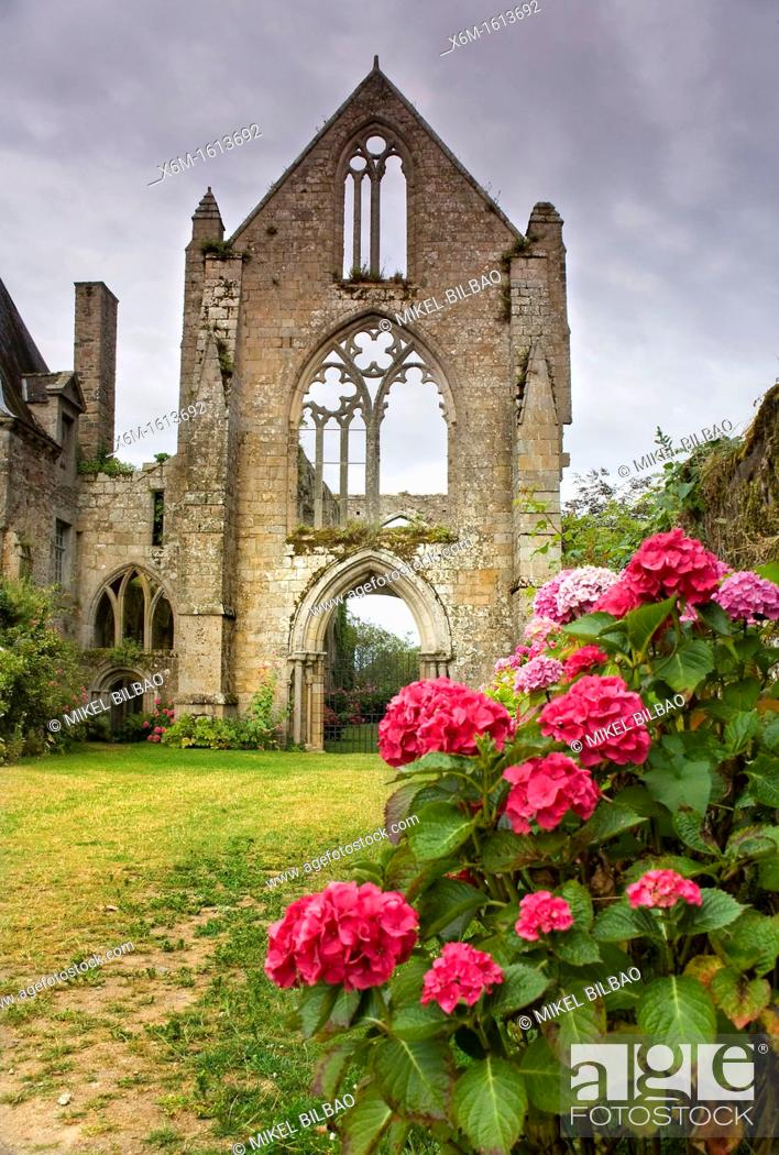 Stock Photo: Beauport Abbey  Paimpol Breton: Pempoull is a commune in the Côtes-d'Armor department in Bretagne in northwestern France.