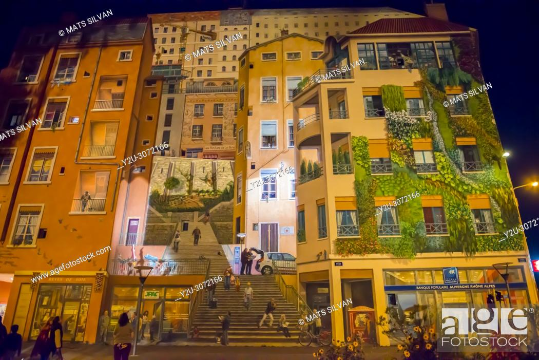 Stock Photo: Wall Painting at Night in Lyon, Auvergne-Rhone-Alpes in France.