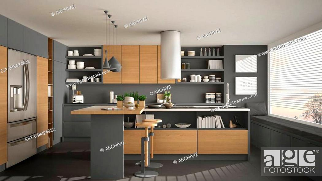 Stock Photo: Modern wooden kitchen with wooden details and panoramic window, white and gray minimalistic interior design, sunset sunrise panorama.
