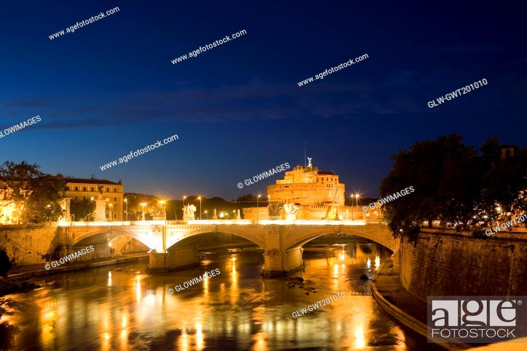 Stock Photo: Bridge across a river, Ponte Sant Angelo, Tiber River, Rome, Italy.