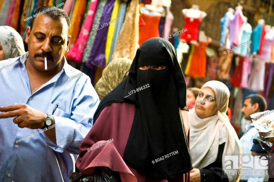 Stock Photo: Busy street scene in the crowded markets of Cairo, Egypt.
