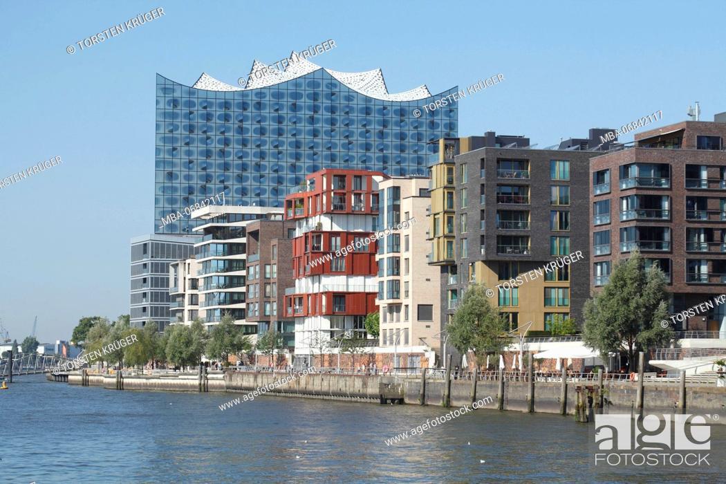 Stock Photo: Hamburg, Elbphilharmonie with houses in the Grasbrookhafen.