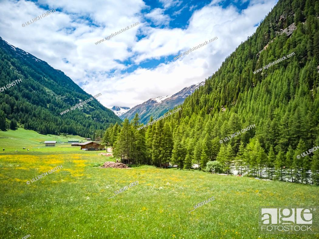 Stock Photo: Idyllic Oetz Valley in Zwieselstein, Tyrol, Austria.