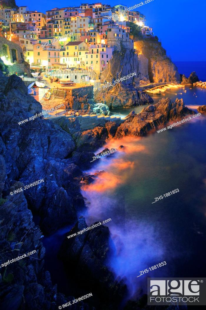 Stock Photo: Town of Manarola in Italy's Cinque Terre national park.