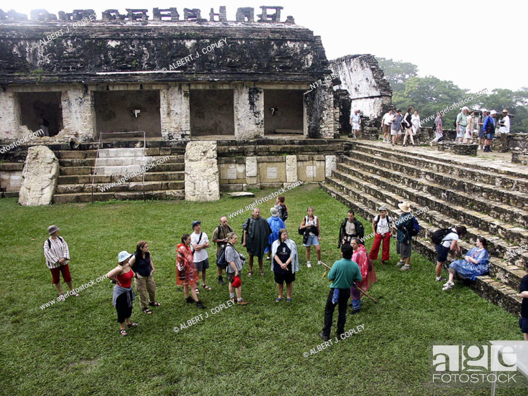 Stock Photo: Tourist group in The Palace of Palenque, Maya archeological site (600 - 800 A.D.). Chiapas, Mexico.