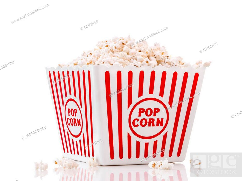 Stock Photo: Red and white popcorn box isolated on white background.
