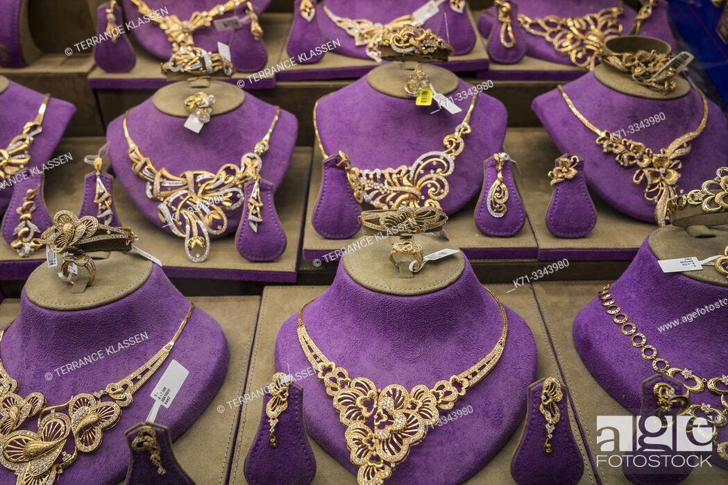 Stock Photo: Gold jewellry for sale in the gold markets of the old town souk of Dubai, UAE, Middle East.