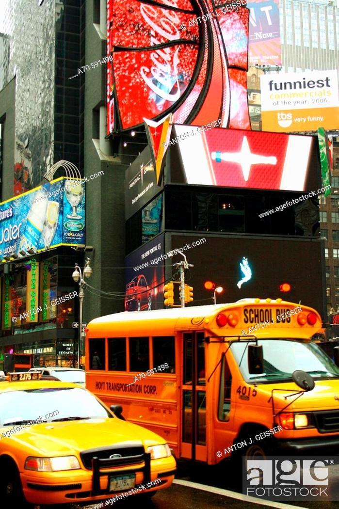 Stock Photo: School Bus. Times Square. New York City. USA.
