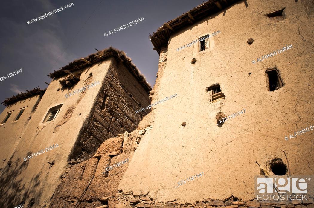 Stock Photo: facade of adobe houses in the High Atlas, Azilal, Morocco.