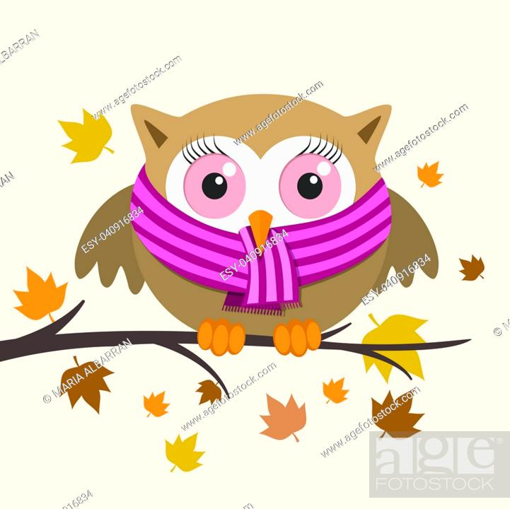 Stock Vector: Female owl with scarf on a fall day. Vector illustration.