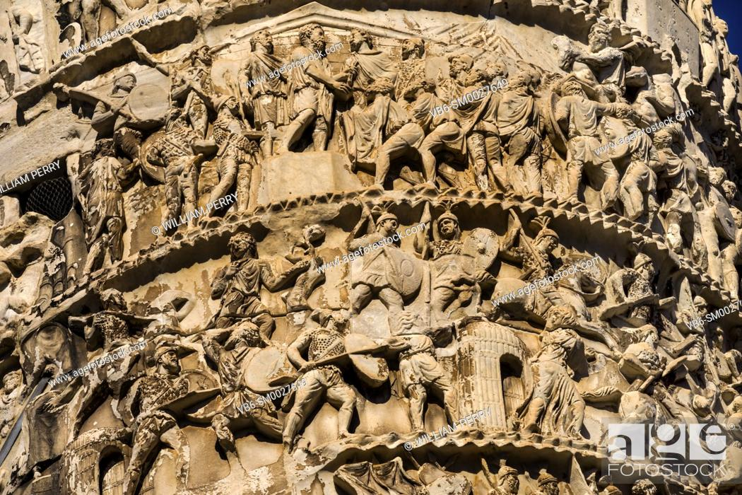 Stock Photo: Ancient Emperor Marcus Aurelius Column Roman Soldiers Details Rome Italy. Column erected in 193 AD to commemorate Emperor's victory in military campaigns.