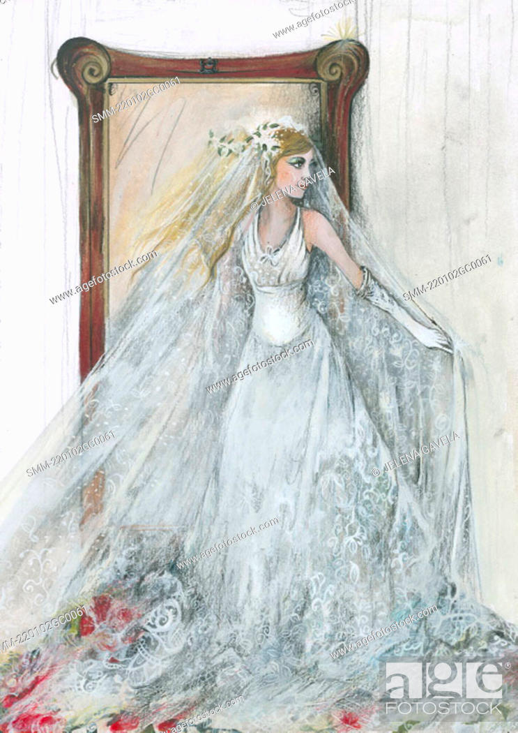 Bride in her wedding dress in front of mirror, Stock Photo, Picture ...