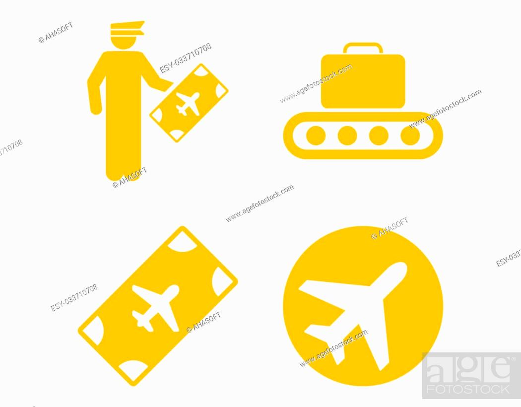 Stock Photo: Aviation Icon Set. These flat icons use yellow color. Raster images are isolated on a white background.