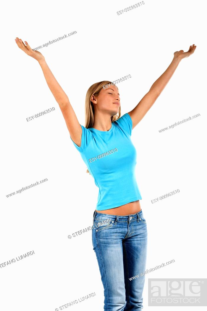 Stock Photo: Beautiful young woman with arms raised, isolated on white.