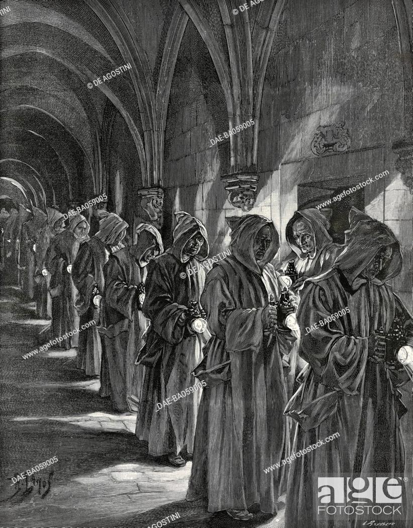 Carthusian monks going to morning Mass, Grande Chartreuse