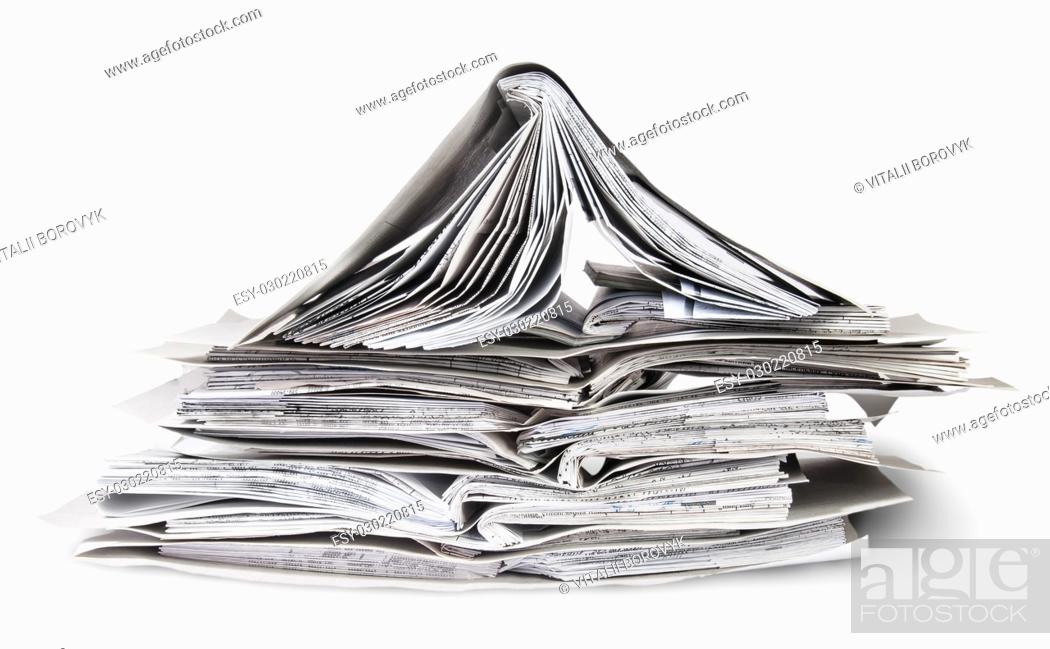 Stock Photo: Chaotic Stacked And One Open Files Isolated On White Background.