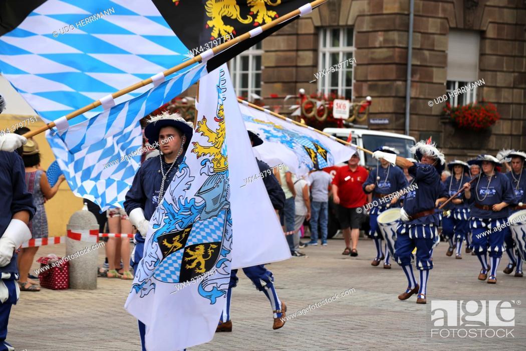 Stock Photo: Marching band, fanfare corp on the â. žBrezelfestâ. œ Speyer (Germany), July 15, 2018.