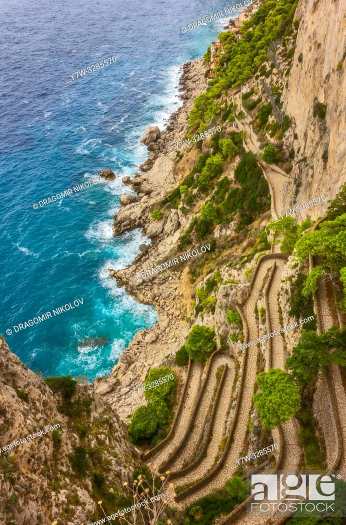 Stock Photo: Via Krupp is a historic switchback paved footpath on the island of Capri, connecting the Charterhouse of San Giacomo and the Gardens of Augustus area with.