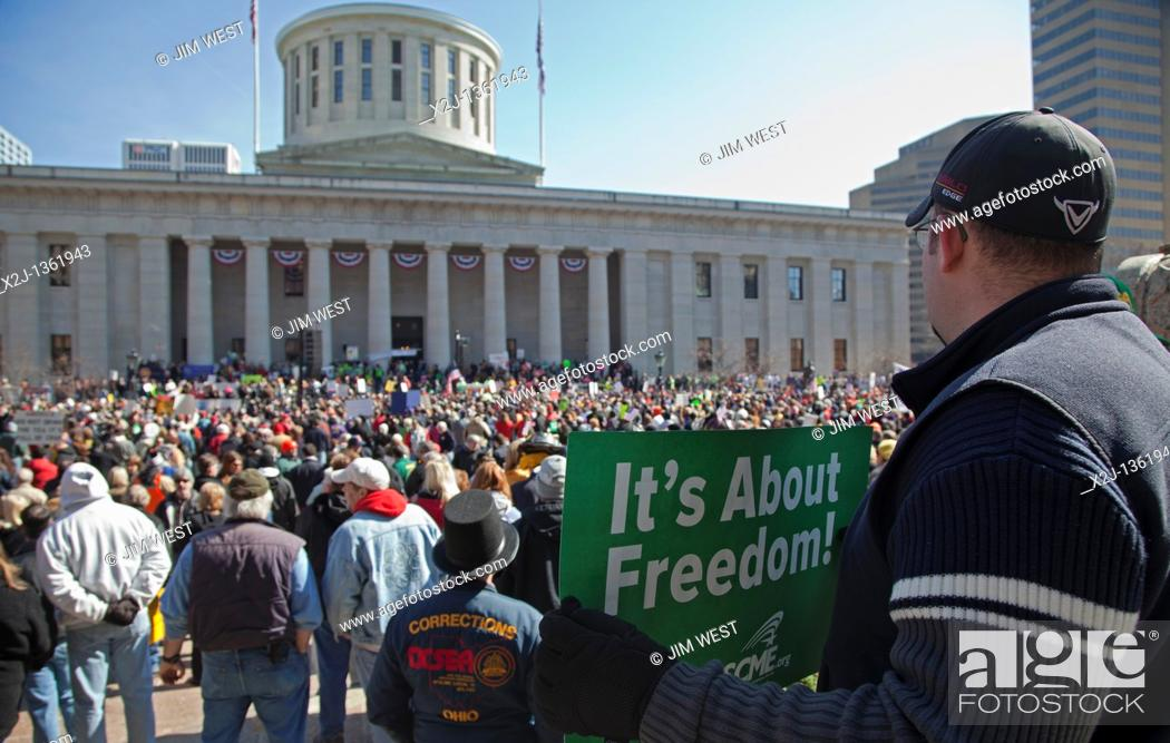Stock Photo: Columbus, Ohio - Union members rally at the Statehouse against SB5, a bill promoted by Ohio Governor John Kasich that would restrict collective bargaining.