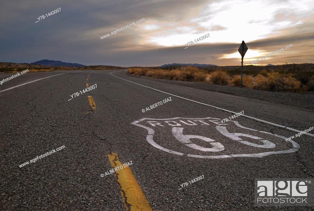 Stock Photo: Sunset on Route 66 in California.