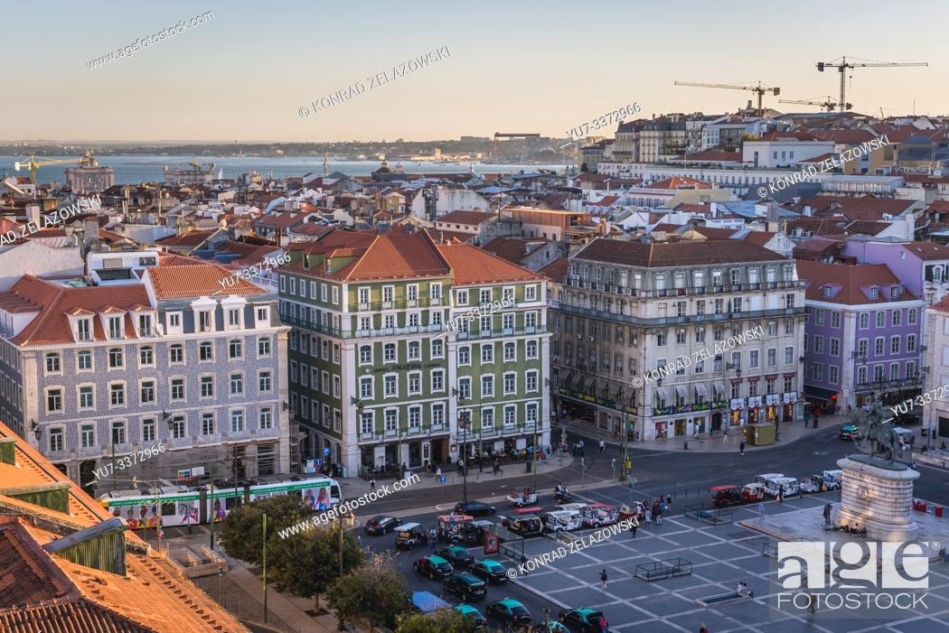 Stock Photo: Aerial view from Hotel Mundial deck on Fig Tree Square in Lisbon, Portugal.