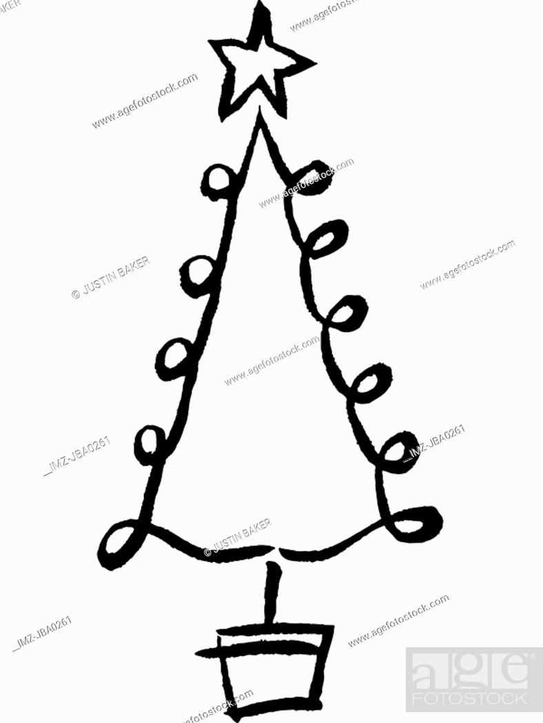 A Black And White Drawing Of A Whimsical Christmas Tree Stock Photo