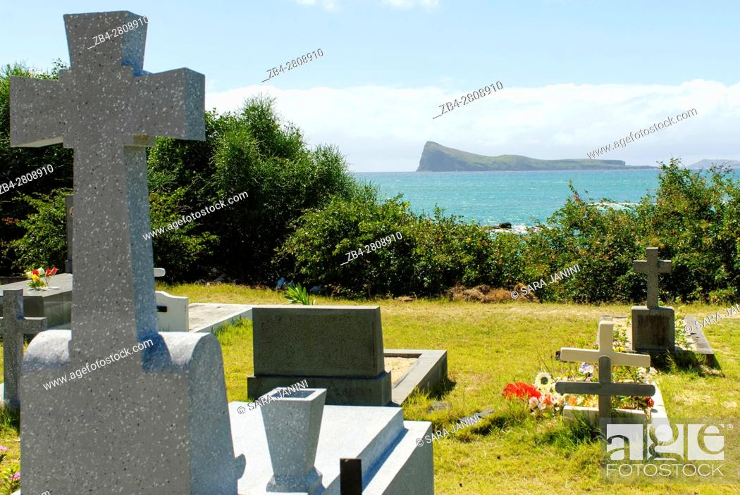 Stock Photo: Cemetery of Church of Notre Dame de l'Auxiliatrice, Cape Malheureux, Mauritius, Indian Ocean, Africa.