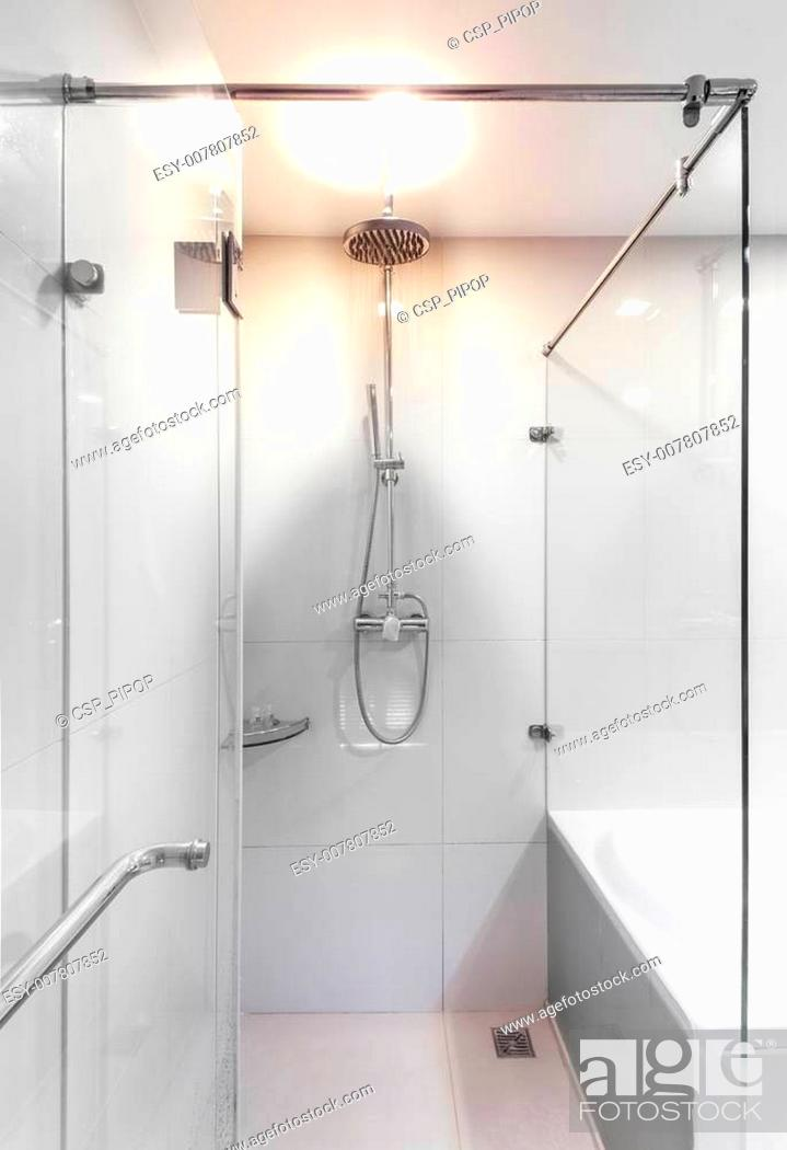 Stock Photo: Modern shower with water stream.