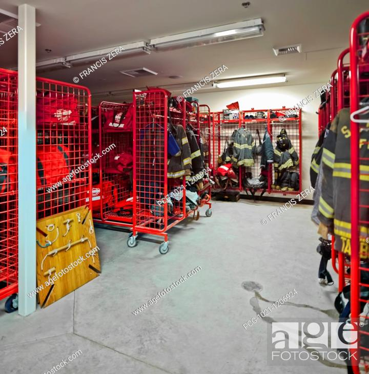 Stock Photo: Fire Station Equipment Room.
