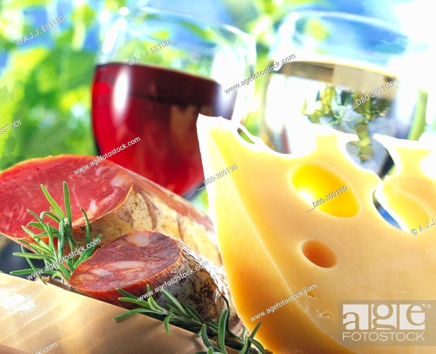 Stock Photo: Pork produce, cheese, wine.