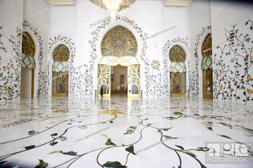 Stock Photo: Thousands of semi-precious stones, inset in marble, decorate the Sheikh Zayed Grand Mosque, Abu Dhabi, United Arab Emirates, Middle East.