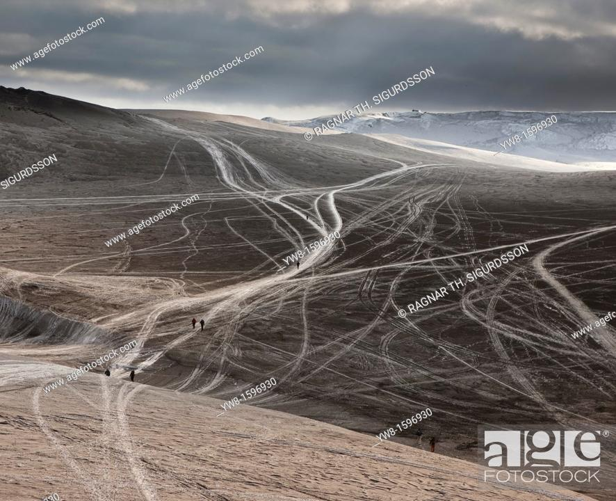 Stock Photo: Tracks in ash from Eyjafjallajokull volcano eruption, Iceland Spring 2010.