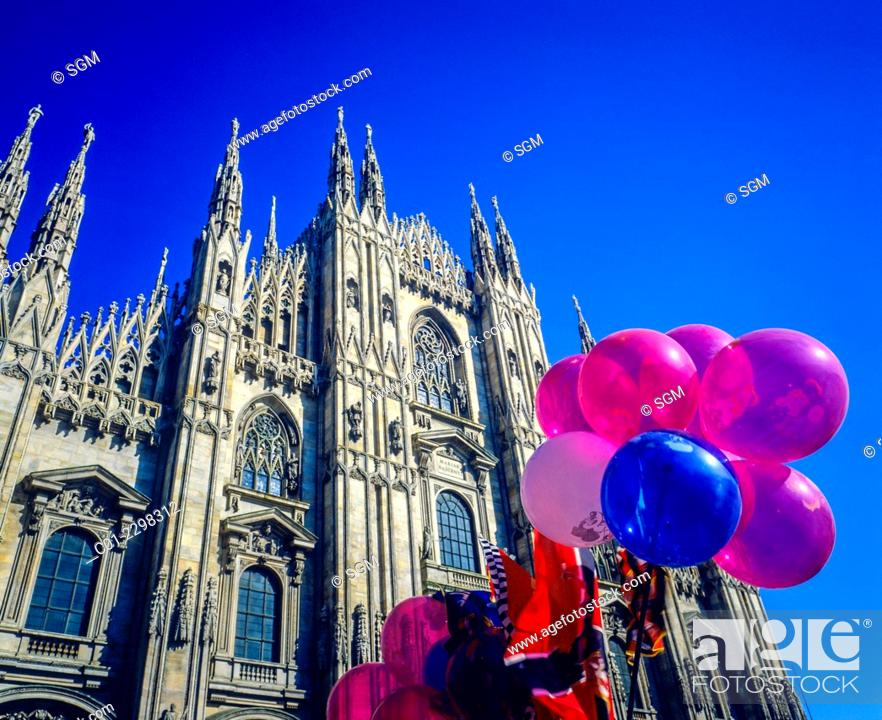 Stock Photo: Balloons and Duomo cathedral Milan Lombardy Italy.
