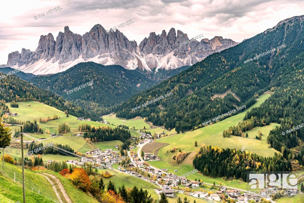 Stock Photo: Overlooking the village of Santa Maddalena and the Villnoess valley with the Geisler massif in the background on a autumn day in october.